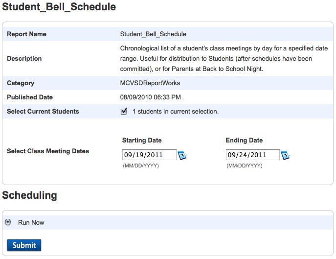 printing student bell schedule reports reportworks