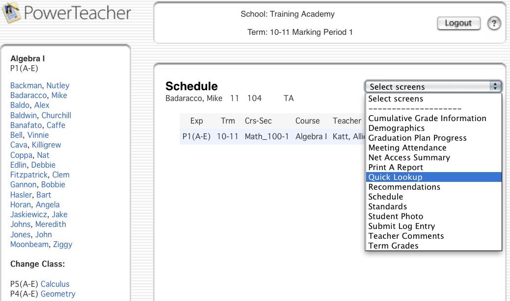 Powerteacher Viewing Student Info Via Quick Lookup